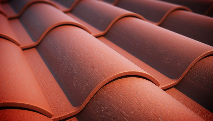 red roof tiles.